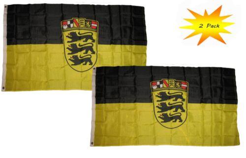 2 Pack 3x5 3'x5' Wholesale Set Germany Baden-Wurttemberg German Flag Banner