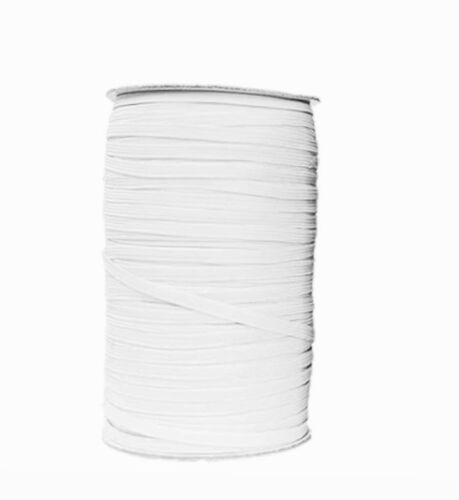 """6 Cable Plano Tejido Elástico De Costura Grado Premium Elástico 4/""""mm Negro O Blanco"""