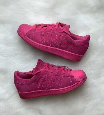 Adidas Originals Pink Superstar J Hot Pink Suede RT Shoe Big Kids Size 4 | eBay