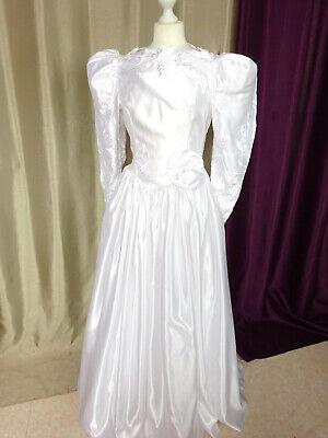 Coscienzioso Robe De Mariée Vintage Satin Nuptialement Vôtre Paris Taille Fr38 Us6 Uk10 Eur36 Né Troppo Duro Né Troppo Morbido