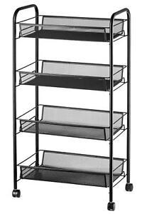Full Metal Storage Cart Rolling Basket Stand w/Shelves ...