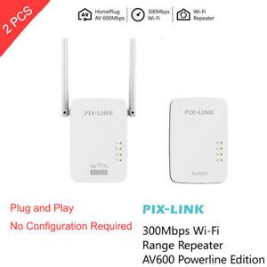 2pcs-300Mbps-WiFi-Powerline-Ethernet-Adapter-Passthrough-Extender-AV600-802-11
