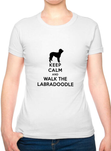 Keep Calm /& Walk The Labradoodle Dog Lover Funny Ladies T Shirt