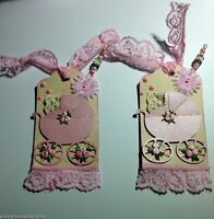 2 Baby Carriage Pink Baby Girl Carriage Stroller Handmade Tags Scrapbook Cards