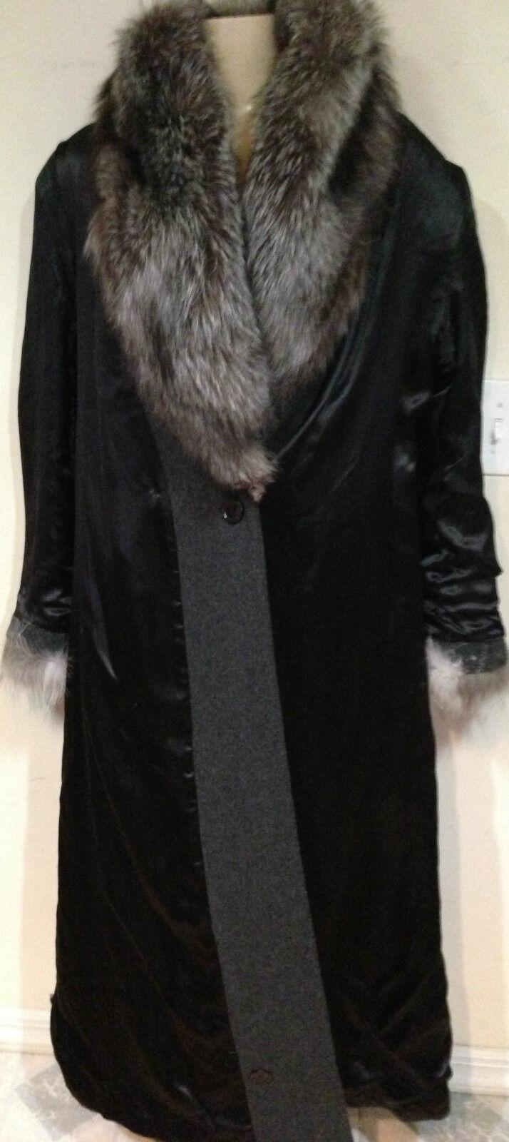 Marvin Richards women's X-mas X-mas X-mas Church winter sliver fox fur long coat size 14 LXL 3b98ee