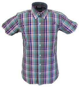 Relco-Retro-Multi-Check-Ladies-Button-Down-Short-Sleeved-Shirts