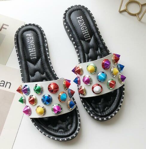 Colorful rivet slippers summer fashion girls shoes flats sandals slingbacks new