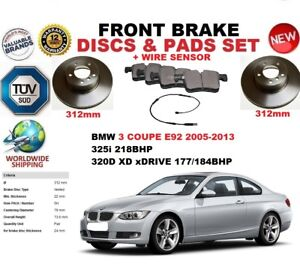 FOR BMW 3 E92 COUPE 05-13 312MM FRONT BRAKE DISCS SET + PADS KIT + WIRE SENSOR