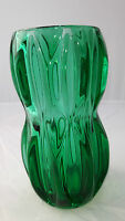 Sklo Union Czech Green glass waisted vase Rosice glassworks, Jan Schmid 1032 60s