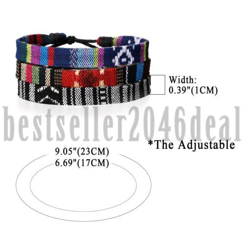 3pcs wickeln Hanf Schnüre ethnische Tribal Armbänder Männer Frauen Armband Set
