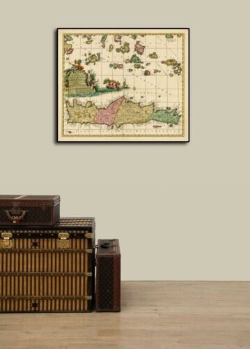 24x28 1680 Crete and Aegean islands Historic Vintage Style Wall Map