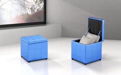 Furniture Constructive Puf Pouf Cassapanca Cubo Panca Baule Contenitore Ecopelle Azzurro Cielo Celeste