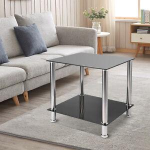 Image Is Loading Black Gl Steel 2 Tier Coffee Table Living