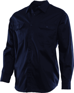 Workhorse CLASSIC WORK SHIRT Long Sleeve, 100% Cotton Drill NAVY-Size 4XL Or 5XL