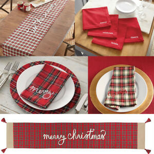 Details About MUD PIE RED WHITE TARTAN PLAID CHRISTMAS TABLE RUNNER And/or  MATCHING NAPKIN SET