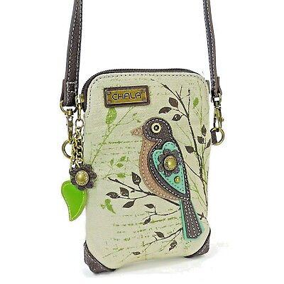 Chala Canvas Cell Phone Wallet Purse Crossbody Wristlet Handbag Safari Bird
