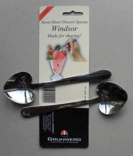 pack de 2 cuillères Windsor par Grunwerg Sweet Heart en acier inoxydable Dessert Spoon