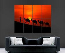 Árabe Sunset camellos cartel bonito Oriente Medio imagen imagen Gigante Pared Arte