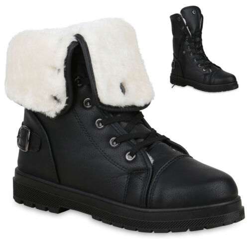 Warm Damen Stiefeletten Stiefel Worker Boots Lack Profilsohle 78062 Punk Schuhe