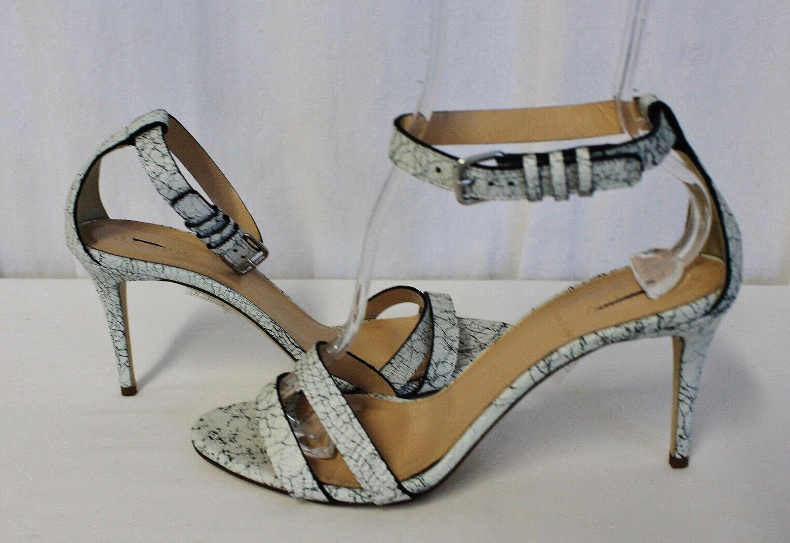 J CREW CRACKLED LEATHER ANKLE-STRAP HIGH-HEEL SANDALS Weiß SIZE 8.5 C1450