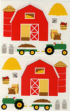 Mrs. Grossman's Giant Stickers - Barnyard - Barn, Tractor, Hay, Seeds - 2 Strips