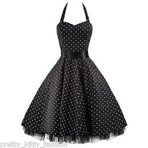 3-PRETTY-KITTY-ROCKABILLY-50s-BLACK-WHITE-POLKA-DOT-VINTAGE-SWING-PROM-DRESS