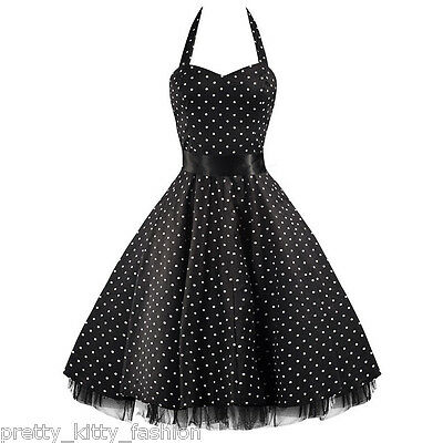 PRETTY KITTY ROCKABILLY 50s BLACK WHITE POLKA DOT VINTAGE SWING PROM PARTY DRESS