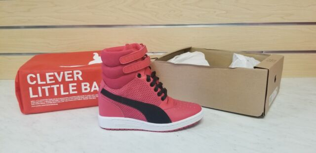 PUMA Pink Women s Perforated Leather Sky Hi Wedge High Top SNEAKERS ... 8d392112e