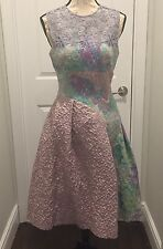 Teri Jon Lace & Brocade Multicolor Cocktail Dress Approx Sz 4/6 NWOT