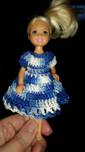 Shaded Blues Hand crocheted Chelsea//Kelly Mattel doll clothes