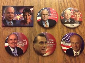 6-John-McCain-Palin-Romney-Thompson-Guiliani-2008-Presidential-Campaign-Buttons