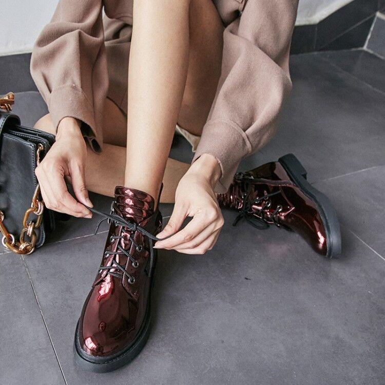 Mujeres Charol al Brillante Tacón Bajo botas acordonadas al Charol Tobillo Zapatos De Alta Top Solid 32e0ed