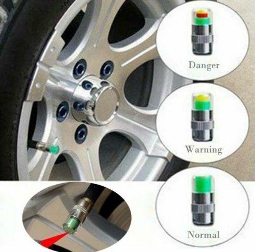 4 X VALVOLA PER AUTO PNEUMATICO TAPPI ANTIPOLVERE Monitor Pressione Ruota 30-32-36 PSI Pneumatico Aria Sensore