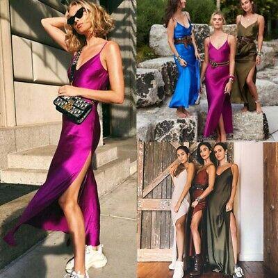 Women Summer Satin Silk VNeck Backless Maxi Cocktail Evening Slip Fishtail Dress