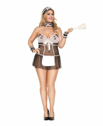 Music Legs 70694Q Plus Size Lacy French Maid Bedroom Costume
