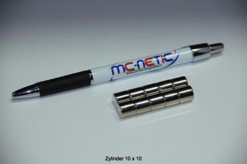 10 Stück Neodym Scheibenmagnete Zylindermagnete 10x10 mm vernickelt whiteboard