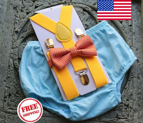 1st Birthday boy cake smash bow tie suspenders outfit 12 mo blue yellow orange