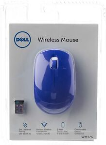 Latest Dell WM126 Wireless USB receiver Mouse Blue perfect for Computer Laptop