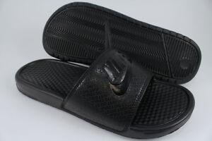 NIKE BENASSI JDI TRIPLE BLACK BLACK SPORT SANDALS SLIDES SWOOSH US ... c618230fccee
