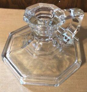 "CANDLESTICK HOLDER CLEAR HEXAGONAL VINTAGE GLASS FINGER HOLDER 3"" T X 4 1/2"" W"