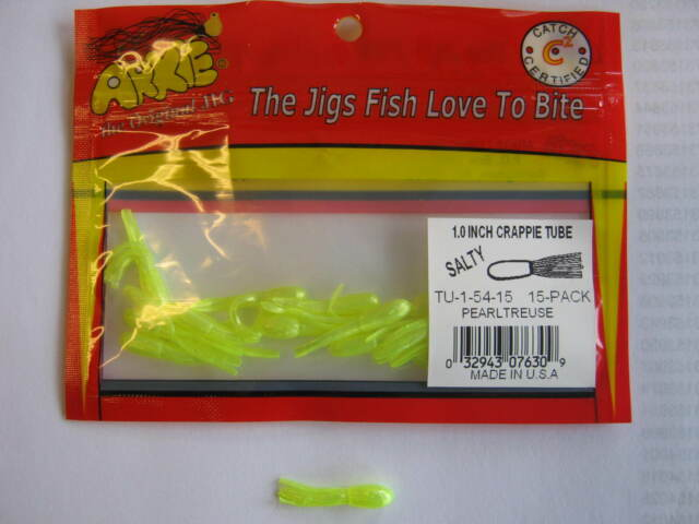 Arkie 1 inch Salted Tube Jigs  15 ct  black// chart