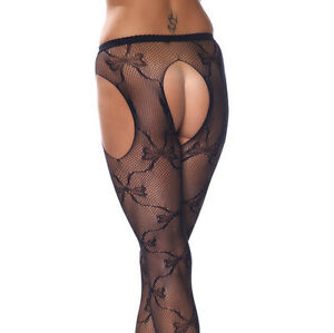 Sexy lingerie fishnet suspender pantyhose black 15