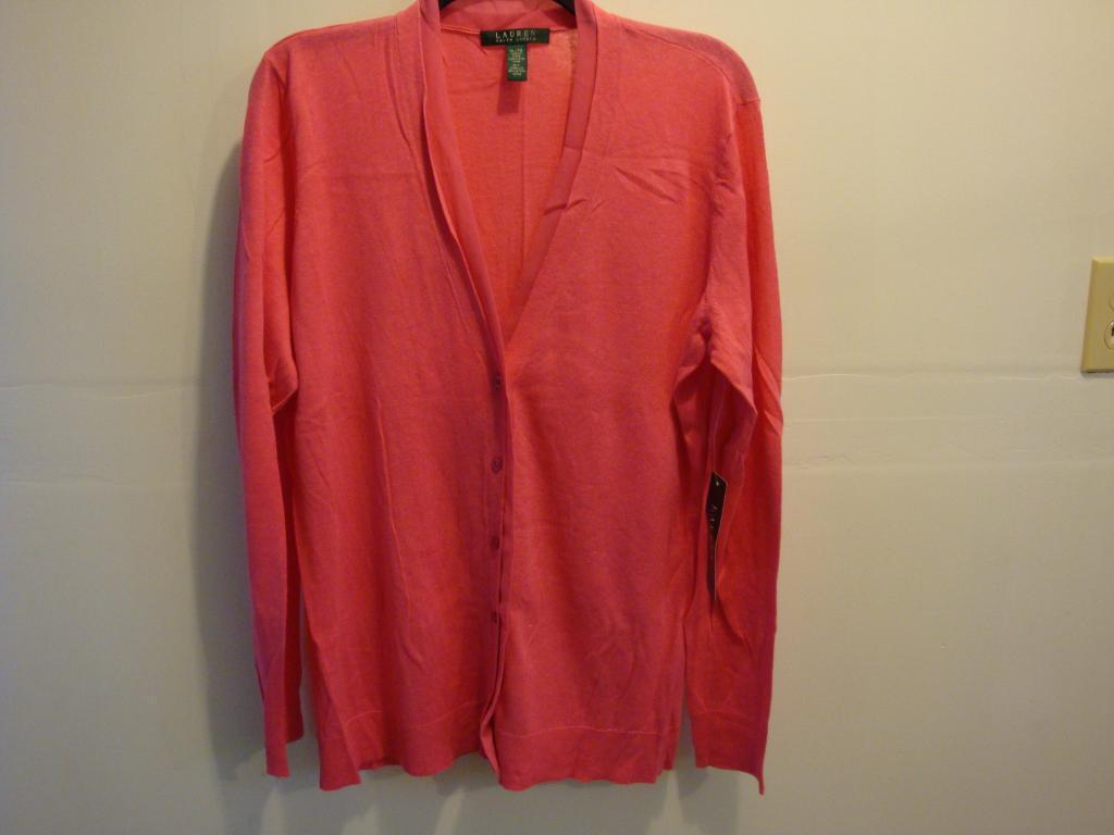 NWT NEW Women Ralph Lauren Lightweight Cardigan Sweater Top PINK Size S
