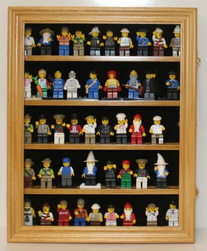 Minifigure Display Case Wall Cabinet Shadow Box solid wood LG-CN30-OA