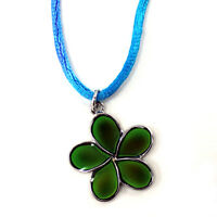 Mood Color Change Plumeria Hawaii Island Flower Pendant Necklace
