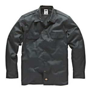 Dickies-Long-s-work-shirt-Charcoal-Grey-travail-chemise-chemises-gris