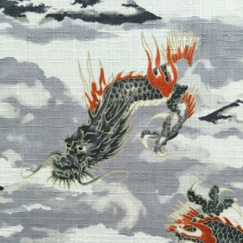 Chinese Oriental mythical Fuji Japanese grey material Dragon /& Mountain fabric