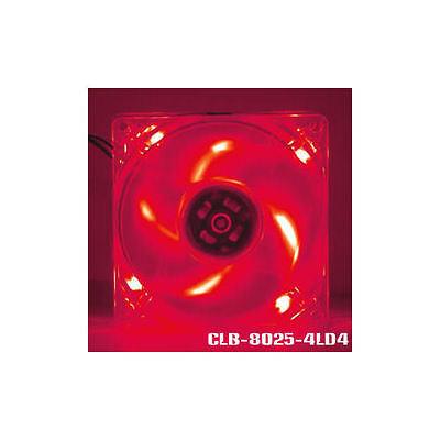 EverCool CLB-8025-4LD4 80mm x 80mm x25mm 4 Red LED Fan