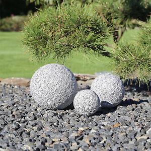 3 Granit Kugeln Garten Gartenkugeln Kugel Granitkugel 3er Set grau ...