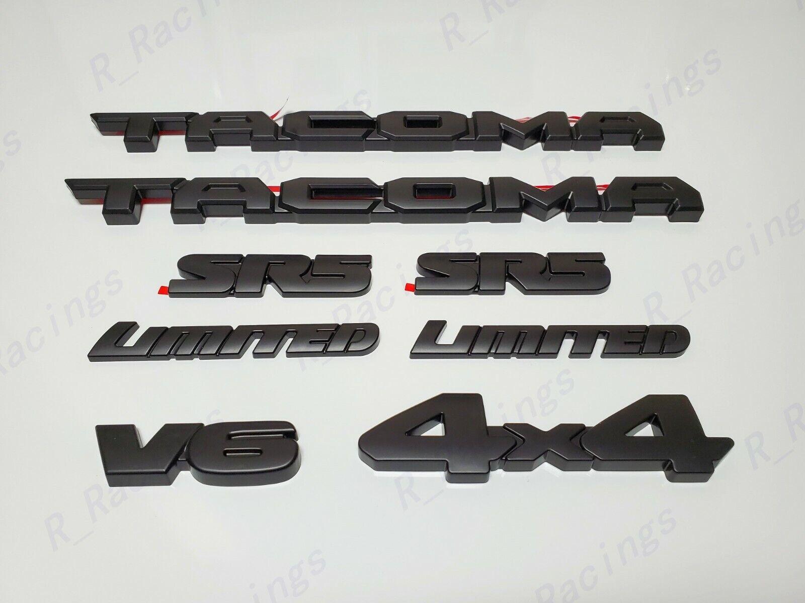 Black 3pcs Fit for 2016-2020 Tacoma Blackout Emblem Overlays ABS Plastic PT948-35180-02